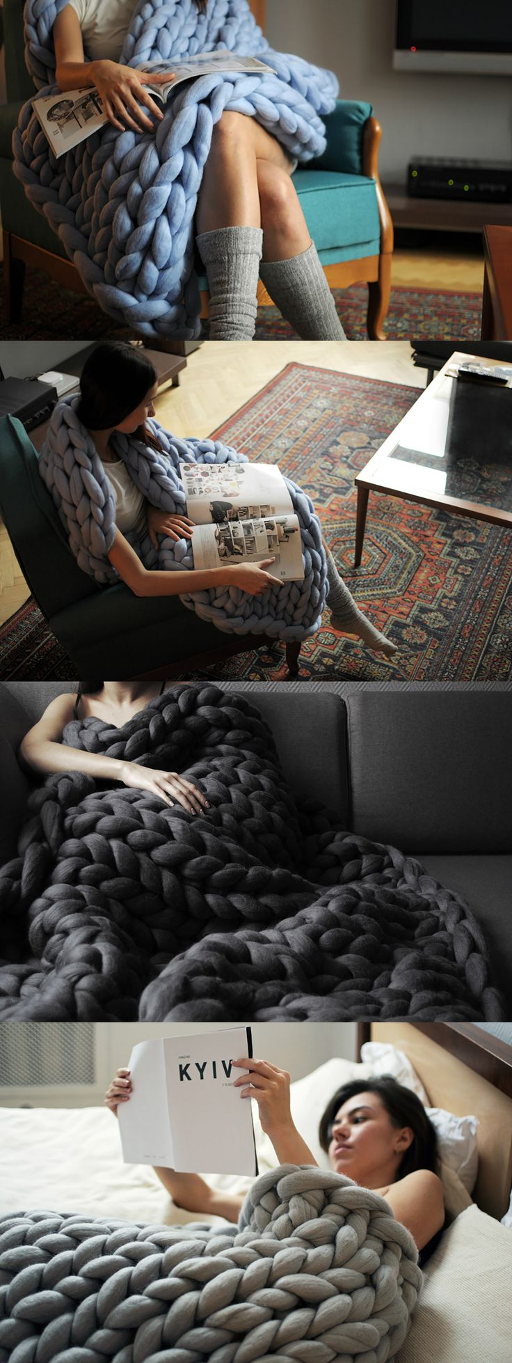 I mean chunky knit! A single stitch of the Ohhio blanket is 3 inches and the blanket's overall thickness is a whopping 2 inches. Made from up to 10 lbs of 100% merino wool, these big stitch blankets give the feeling of weight and warmth to keep you cozy all winter long. DO WANT! #Wool #Blanket #YankoDesign