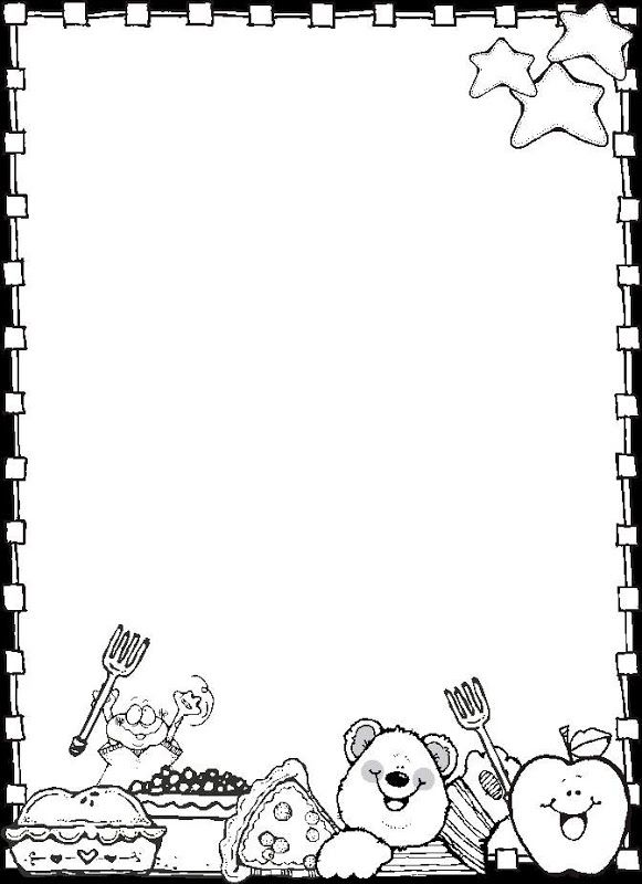 paper border drawing of teddy bear and food items Dj inkers Clip Art - ezpinita - Picasa Web Albums