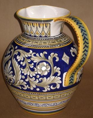 Deruta Majolica Italian Pottery Huge Navy Gold Cream Handled Jug | eBay