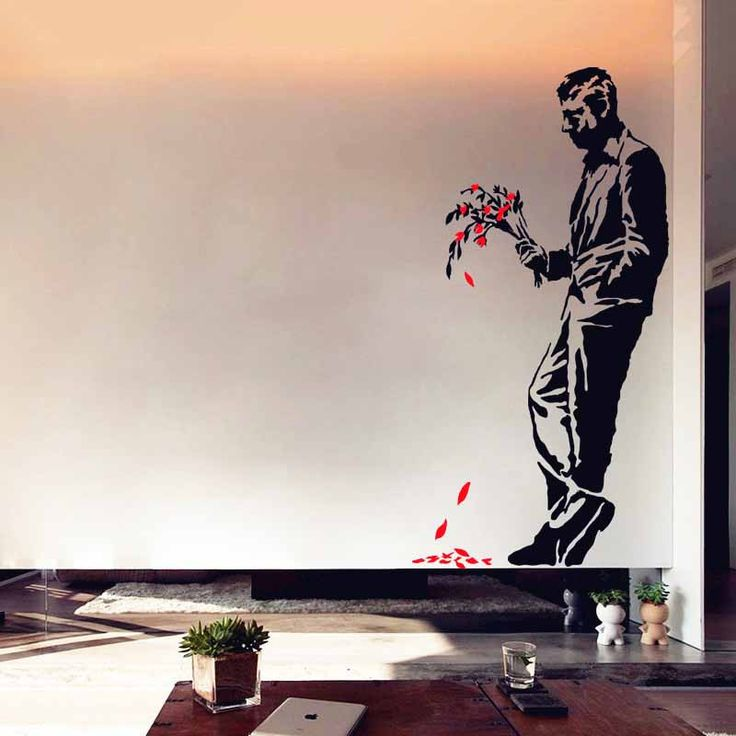 Man Bouquet Banksy Wall Decal