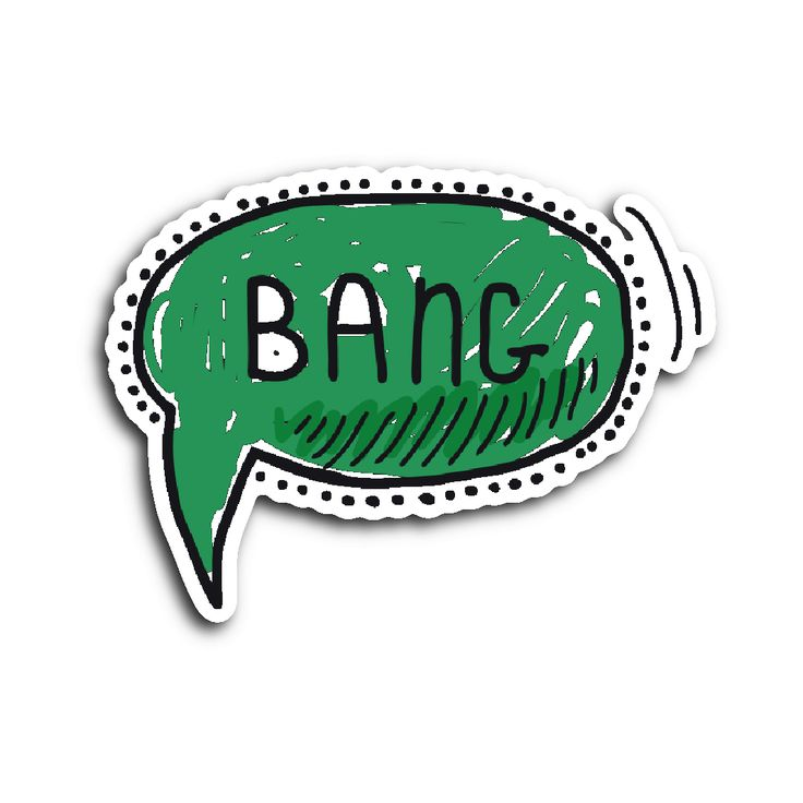 Hand Drawn Comic Book Speech Balloon Stickers - Bang2!