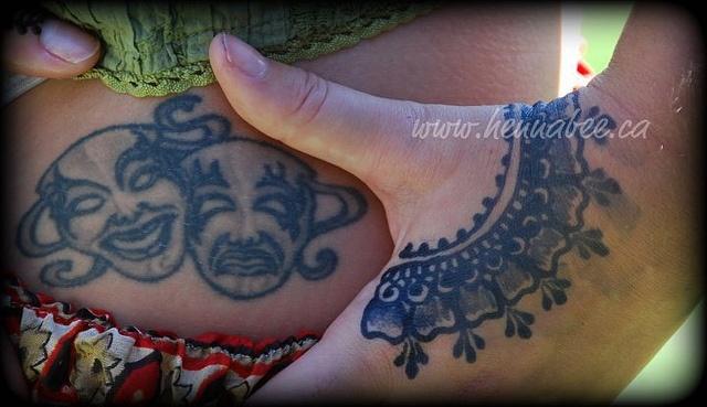 Blue ink tattoo compared to jagua juice, a black henna alternative  #body_art  #tattoo