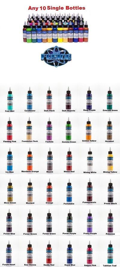 Tattoo Inks: Fusion Tattoo Ink Original Pigments Set Of 10 Own Colors 1 Oz 30 Ml Bottles Usa -> BUY IT NOW ONLY: $129.99 on eBay!