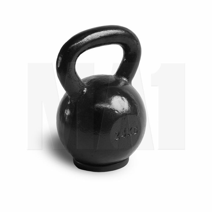 Black Cast Iron Kettlebell with Rubber Base - 24kg | MA1 | Strength and Conditioning Training Fitness Equipment