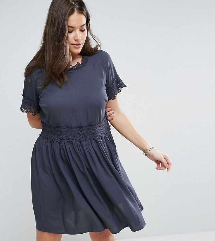 Junarose Crochet Lace Insert Prarie Dress - Blue