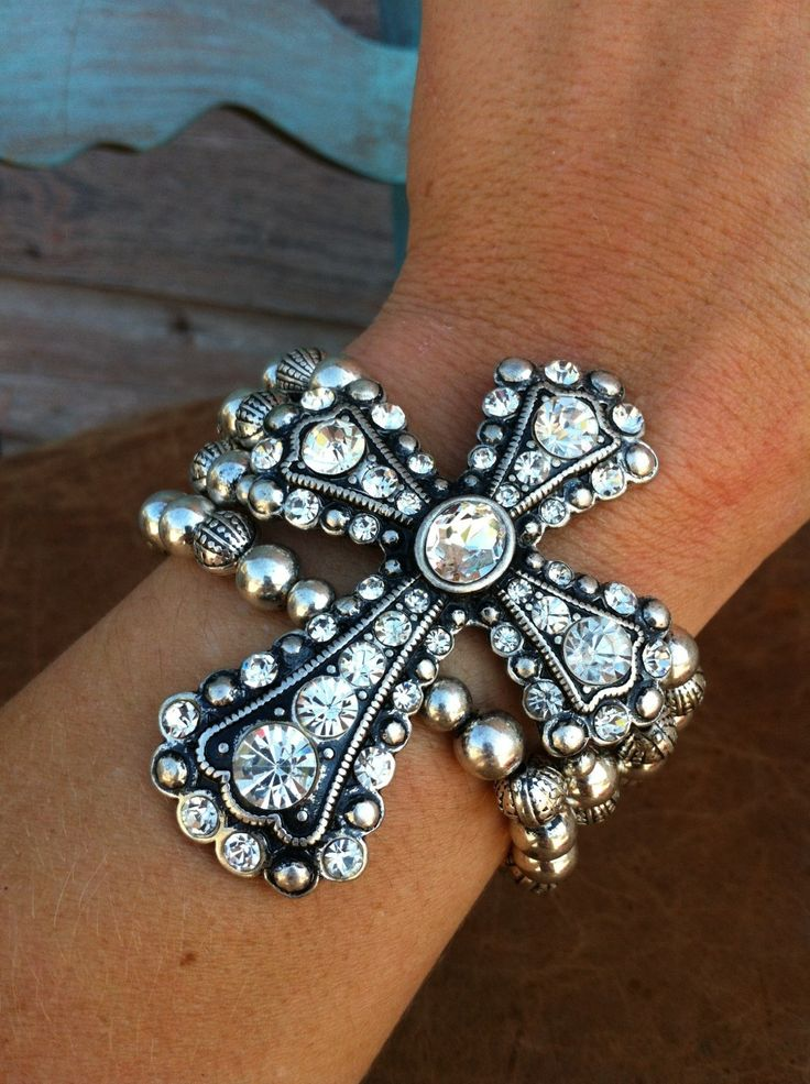 Cowgirl Clad Company - Multi-strand Bracelet w/ Large Bling Cross Concho, $16.00 (http://www.cowgirlclad.com/multi-strand-bracelet-w-large-bling-cross-concho/)