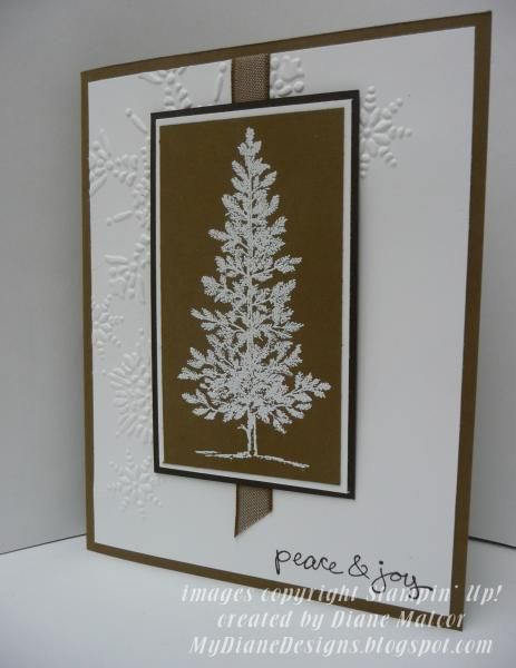 I like a card I saw on Pinterest using the Plant Hope stamp set with the brown/white color combo.  I tried to recreate the card using the stamps that I had instead.