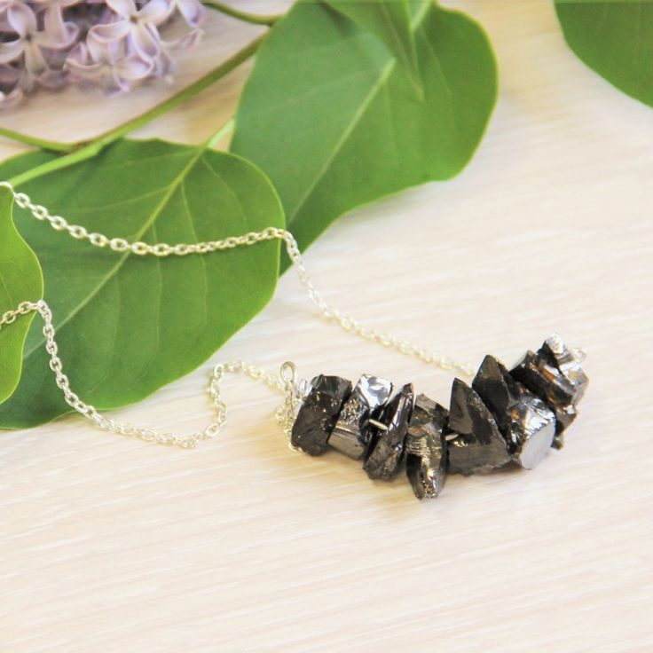 Shungite necklace with small elite shungite nuggets $26.99