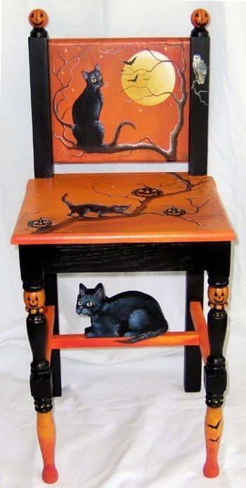 Painted Halloween chair by Shirley Olsen | Juxtapost