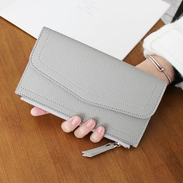 Fashion Leather Wallet Long Design Leather Solid Clutch Bag Thin Purse Soft Credit Card Holde…