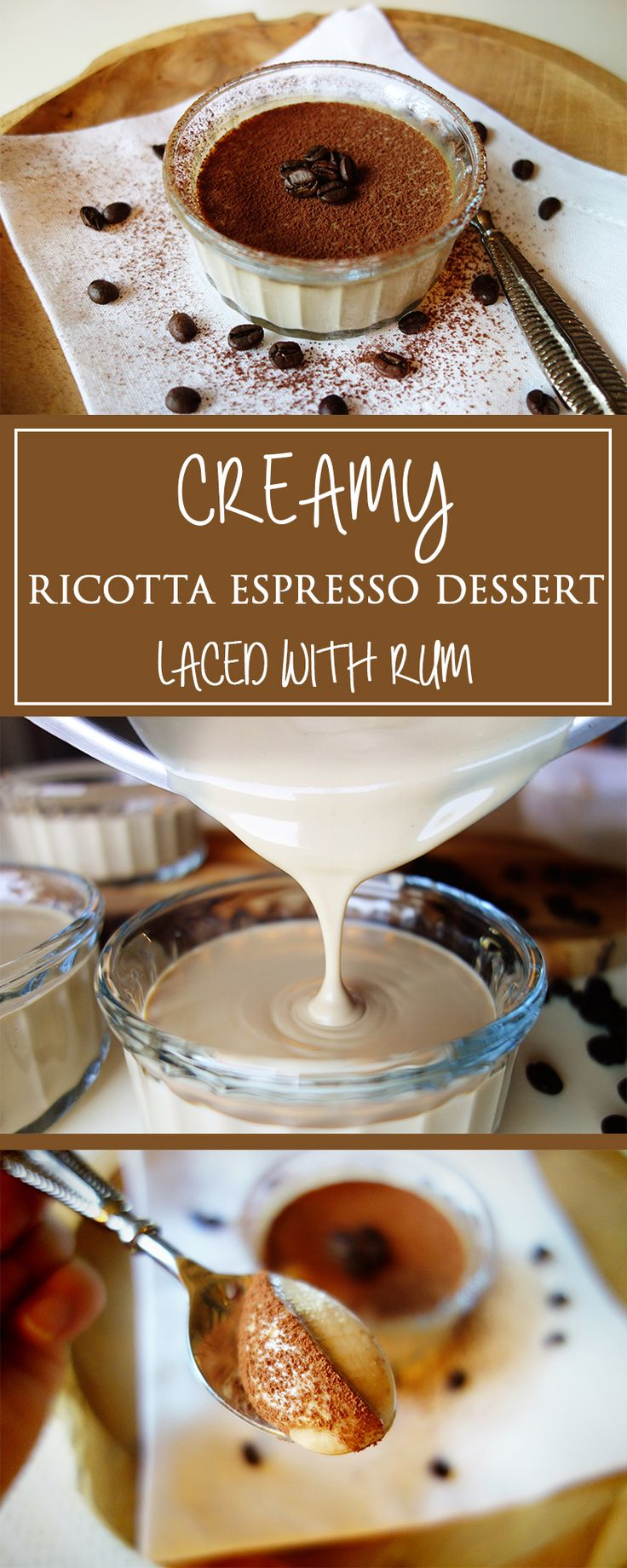 Creamy Ricotta Espresso Dessert laced with Rum - probably the most simple italian dolci-recipe there is! Sweet & irresisably tasty with that little twist!  | cucina-con-amore.com