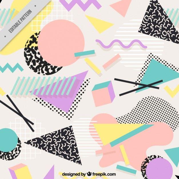 Fondo con formas planas geométricas Vector Gratis