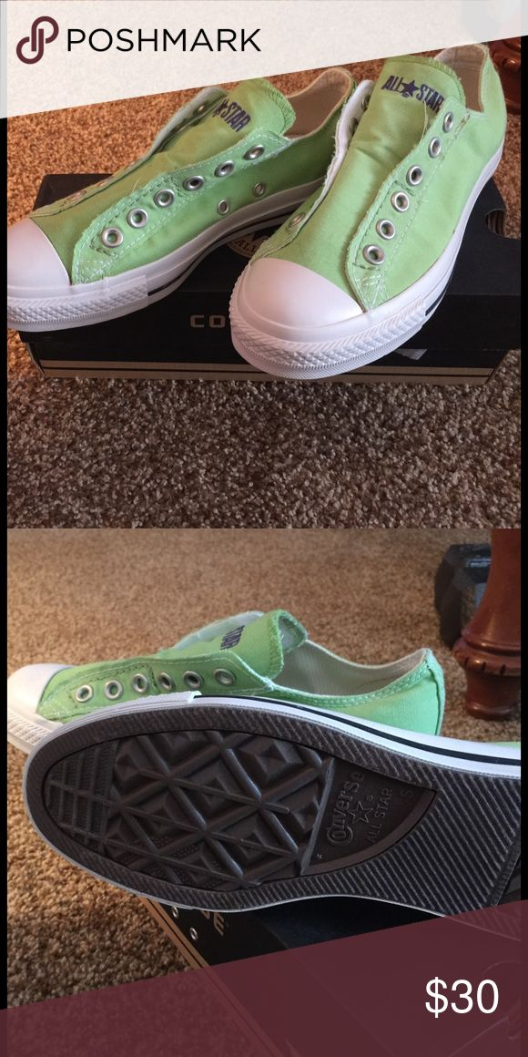Mint green Converse slip ons Never been worn.  Comfortable slip on Converse.  No ties!  Ready for spring color!!!! Converse 7 fits size 8 women's. Converse Shoes Sneakers