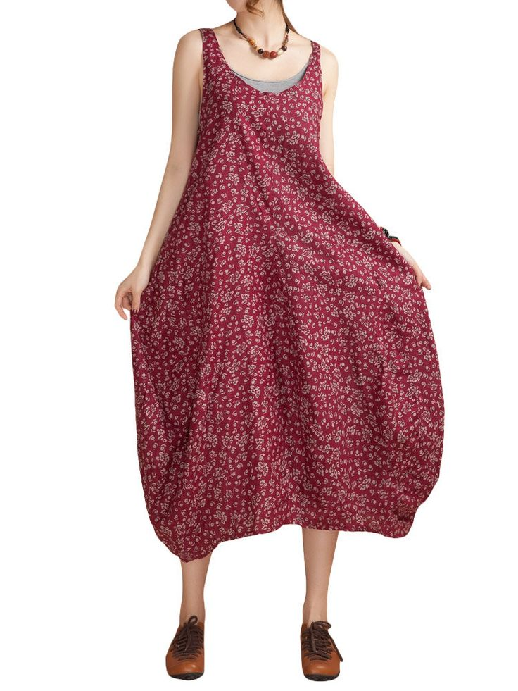 O-Newe Ethnic Style Strap Floral Printed Lantern Maxi Sundress For Women