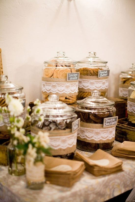 """""""Cookies and milk bar for refreshments. burlap wedding ideas"""" - do this to containers on candy table. - Soooooo much cheaper than buying mass amounts of candy"""