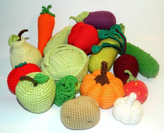 Crochet vegetables fruits 16Pcs Christmas от HomeToysByGalatova