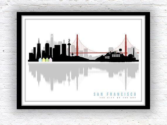 SAN FRANCISCO art, San Francisco skyline, Minimalist city scape, wall decor, poster, San Francisco print  Original poster print only available at