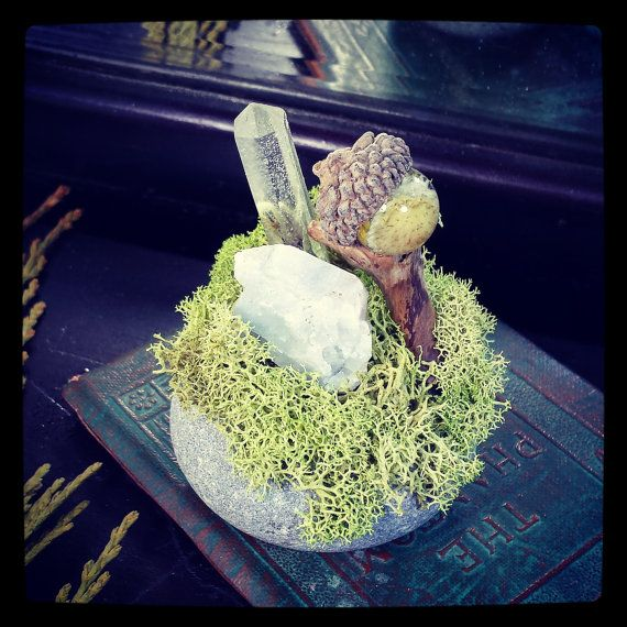 Toadstool Crystal Sculpture Nature Art Rustic Home by WildFernArt