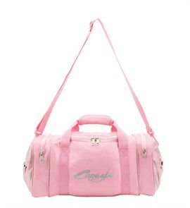 Capezio B106C Bow Sweet Duffle Bag. Includes 2 exterior zip-close compartments. 2 interior shoe pockets and a zip close pocket. Features shimmery bow details and coordinating plastic hardware. Main compartment flap features fill in contact information on bleed-thru-proof fabric. Hand held or shoulder strap options. Satin and shimmer PU. www.dancinginthestreet.com