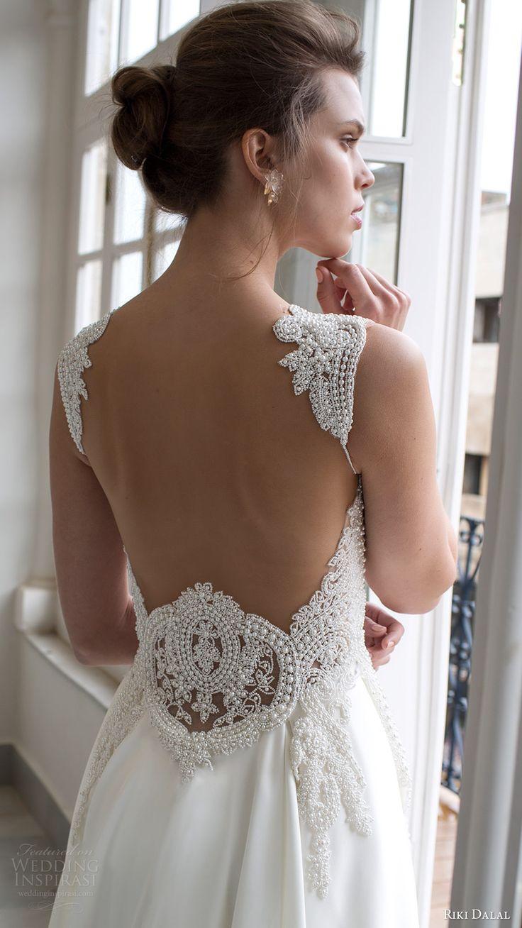 riki dalal bridal 2016 sleeveless sweetheart queen anne neckline beaded bodice a line wedding dress (1803) zbv low back elegant long train