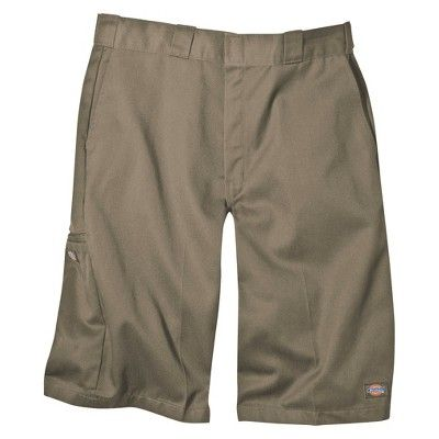 Dickies Men's Loose Fit Twill 13 Multi-Pocket Work Shorts- Khaki (Green) 42