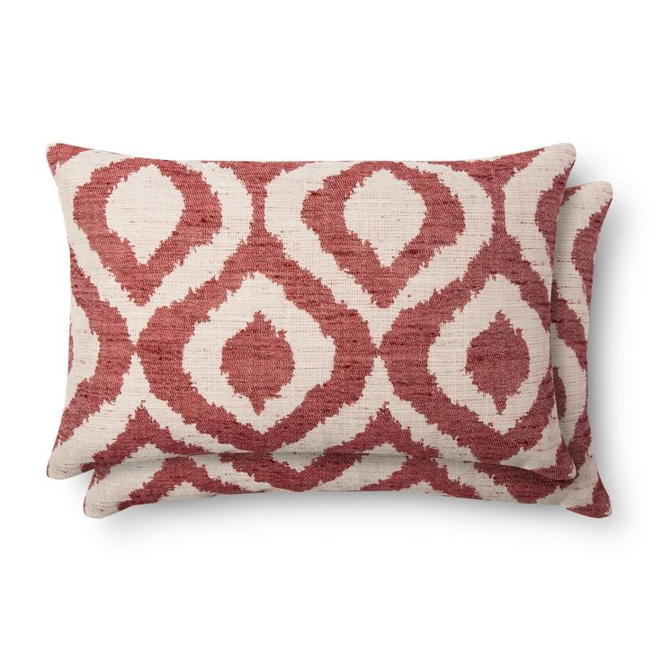 """2pc Red Throw Pillow (12""""x18"""") - Threshold, Ruby Ring"""