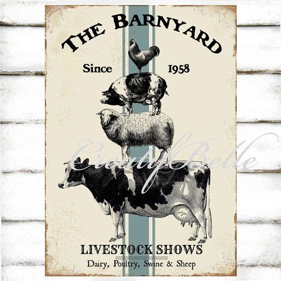 Vintage Barnyard Farm Animal Stack Large Instant Digital
