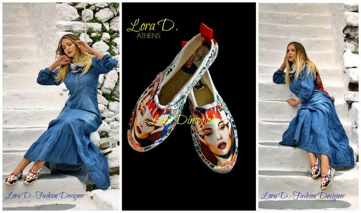 Νέο προιόν από την Lora Dimoglou-Fashion Designer. Espadrilles χειροποίητες και σχεδιασμένες από την ίδια πολλά και μοναδικά σχέδια και χρώματα ,για να ομορφύνουν και να χρωματίσουν την Άνοιξη και το Καλοκαίρι σας! Θα τα βρείτε με παραγγελία από την ίδια στο τηλέφωνο ή στο ινμποξ της σελίδας https://www.facebook.com/Lora.Dimoglou/ και τώρα σε αποκλειστικότητα και στο κατάστημα της Μυκόνου Mykonos Sandals www.facebook.com/... Espadrilles handmade by : Lora Dimoglou
