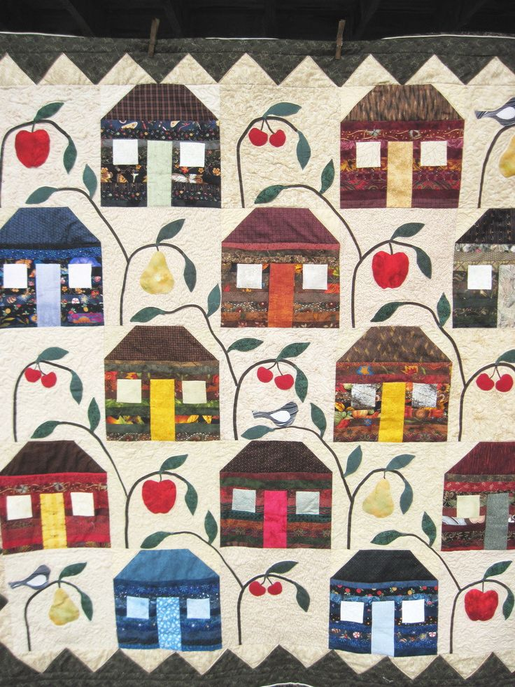 Quilted wall  hanging lap quilt sofa throw applique  patchwork  house farmhouse quilt by KellettKreations on Etsy