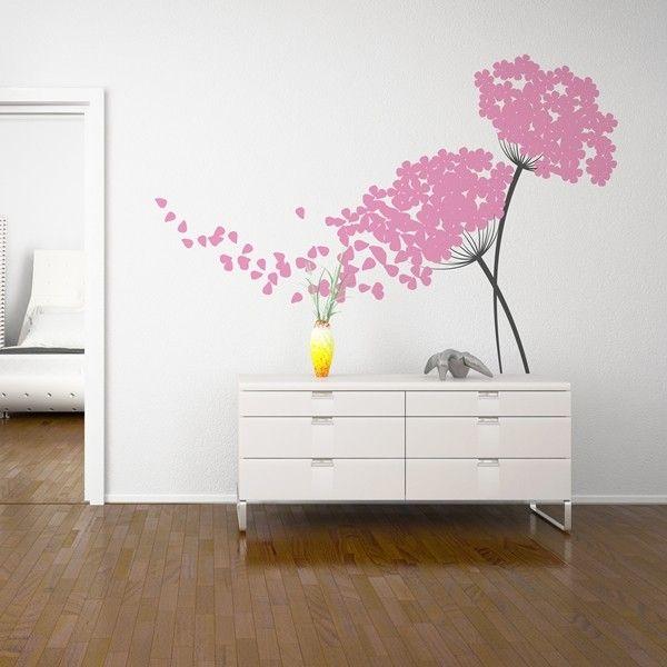 Vinilo Decorativo Floral Fl211 Con El Dibujo De Dos Flores Entrelazadas Y Una De Ellas Perdiendo Decoraciones De Casa Decoracion De Unas Decoracion De Muebles