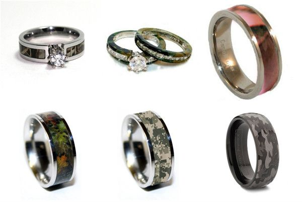 Camouflage wedding rings. haha. wow.  If only the hubs had THAT much say....