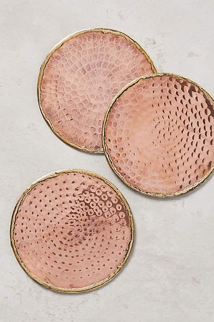 Rose and Gold Glimmer Ring Coasters from Anthropologie