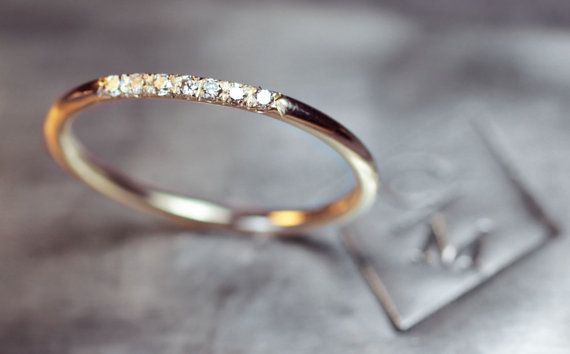 Gold Band With 7 Pave Set Diamonds 14k Gold By Chincharmaloney Only