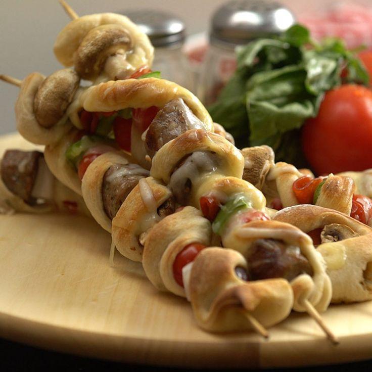 Pizza Kebabs but with veggie meatballs.