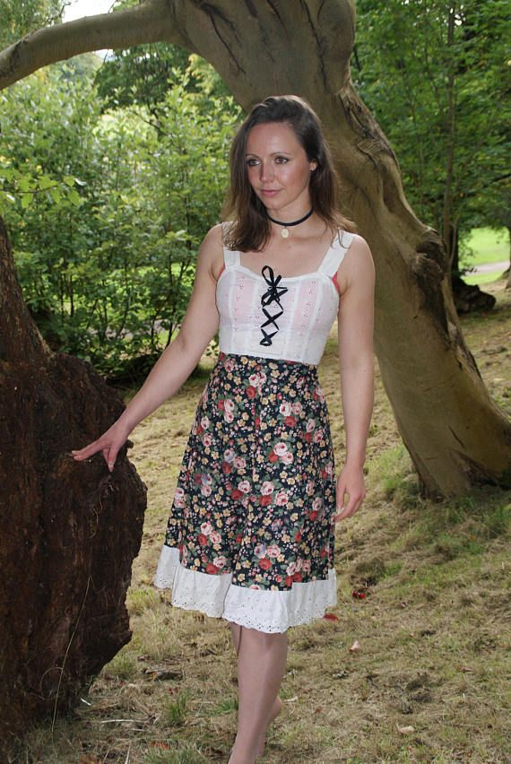 Vintage 70's Floral City Swingers Lace Up Dress Peasant/Prarie