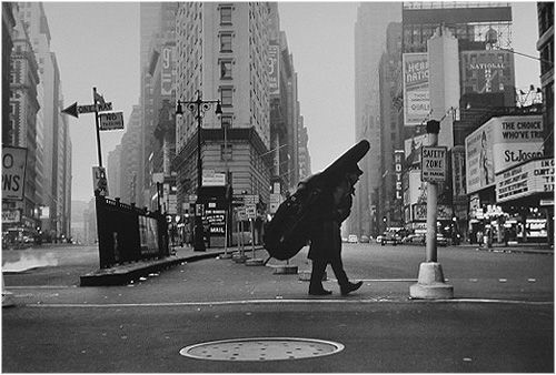 Dennis Stock-Bill Crow w:Bass, Times Square 1958