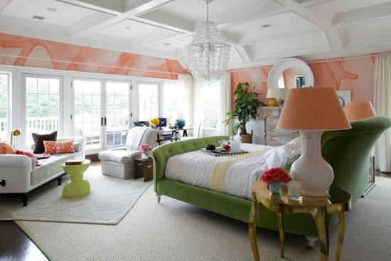 robert passal hamptons show house bedroom green peach: Wall Art, Colors Combos, Bright Colour, Watercolor Wallpapers, Wall Treatments, Traditional Home, House, Style Blog, Colour Schemes