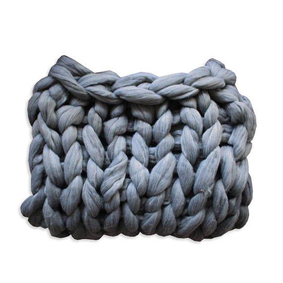 Lap Throw Gray chunky knit blanket Merino wool blanket Chunky throw decorative blanket Hand Knited merino wool blanket Throw chunky knit