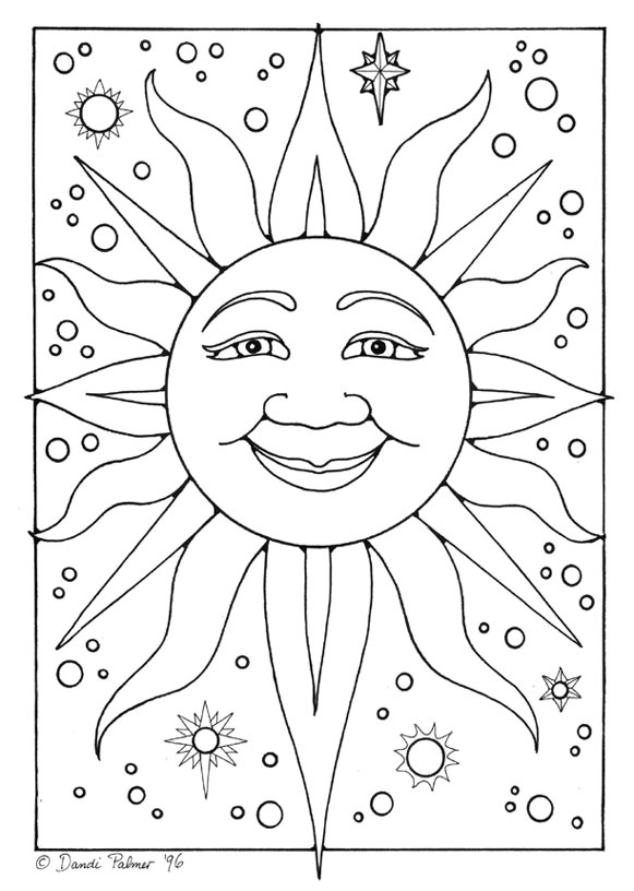 161 best Sun Moon and Stars Coloring images on Pinterest | Coloring ...