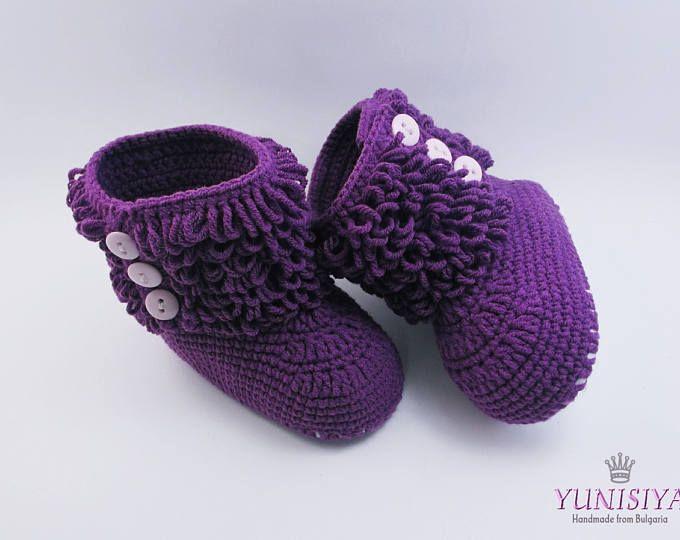 Crochet botitas de bebé zapatos del ganchillo del bebé 0-3 meses bebé botas Crochet bebé bebé púrpura Botas zapatillas de ganchillo regalo zapatos botas de niño