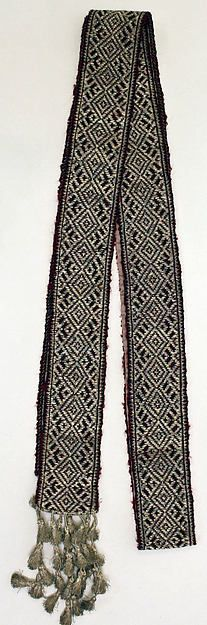 Ensemble | Romanian | The Met Date:19th century Medium:cotton, silk Belt? Rest of ensemble with white with black embroidery or dark red with white pattern