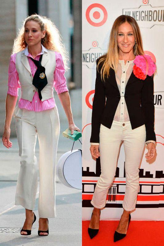 Traje de chaqueta El blanco, negro  y rosa inspiran estos dos looks similares