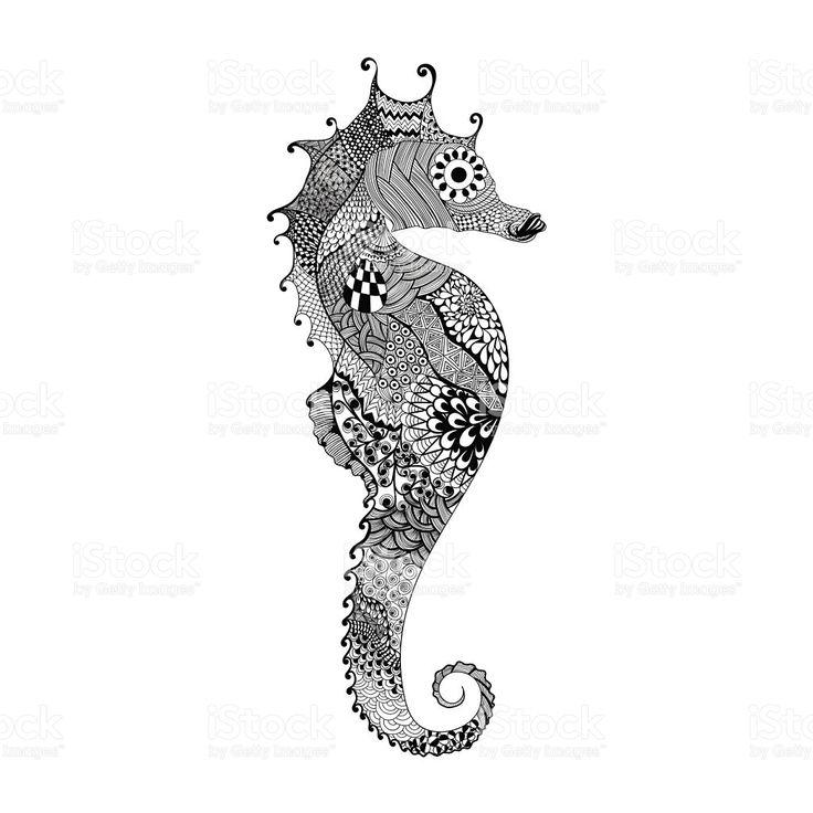 Zentangle stilizzata di cavallo di mare nero.   Disegnati a mano vettoriale illustrati illustrazione royalty-free
