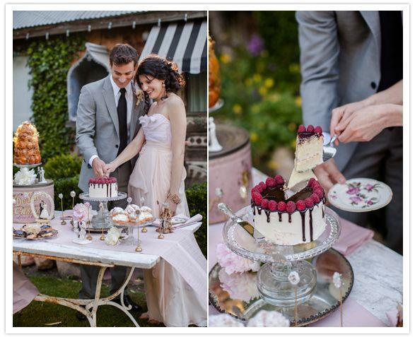 chocolate drizzled wedding cake