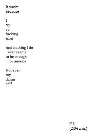 It sucks because I try so fucking hard and nothing I do ever seems to be enough for anyone.  Not even my damn self.