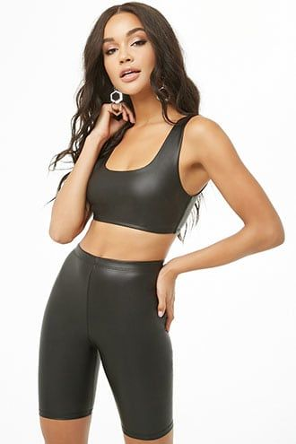 Faux Leather Crop Top & Biker Shorts Set   – Biker shorts