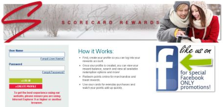 Scorecard Rewards Login