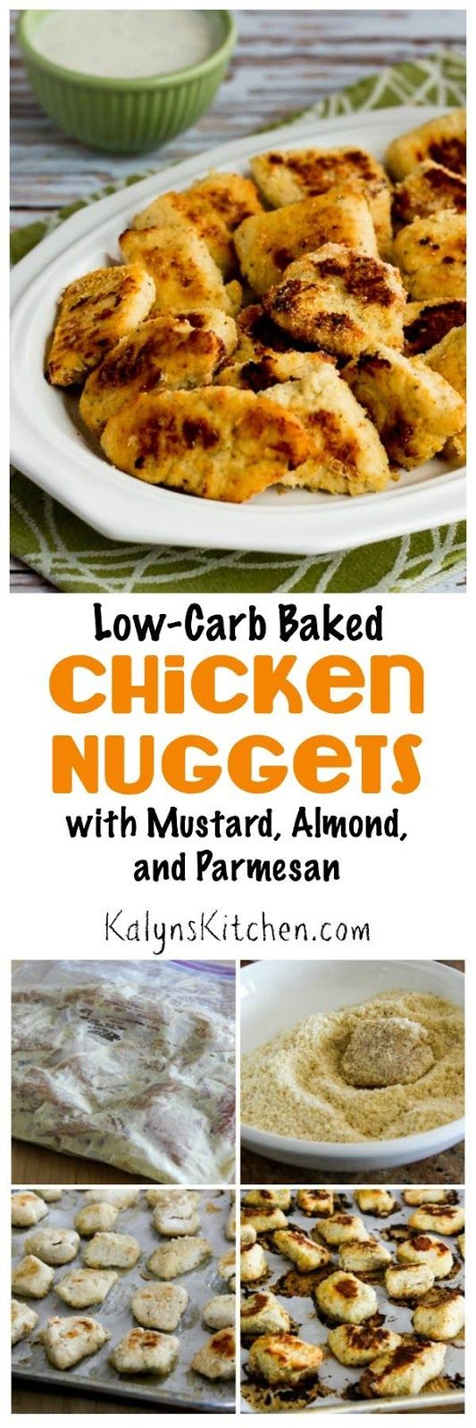 We absolutely loved these Low Carb Baked Chicken Nuggets with Mustard  Almond  and Parmesan  and using parchment paper helped the coating stick to the chicken and made cleaning the messy pan a breeze  Perfect with Grandma Denny  39 s From Scratch Ranch Style Dip for Veggies   found on KalynsKitchen com
