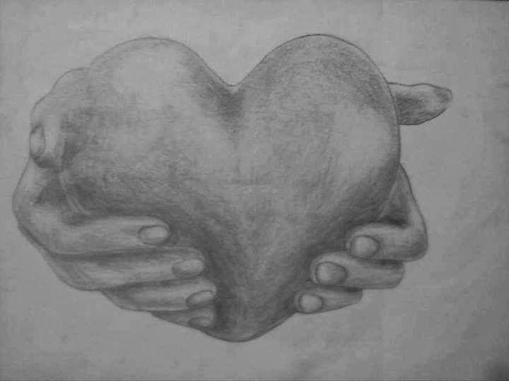 karakalem kalp çizimleri kolay