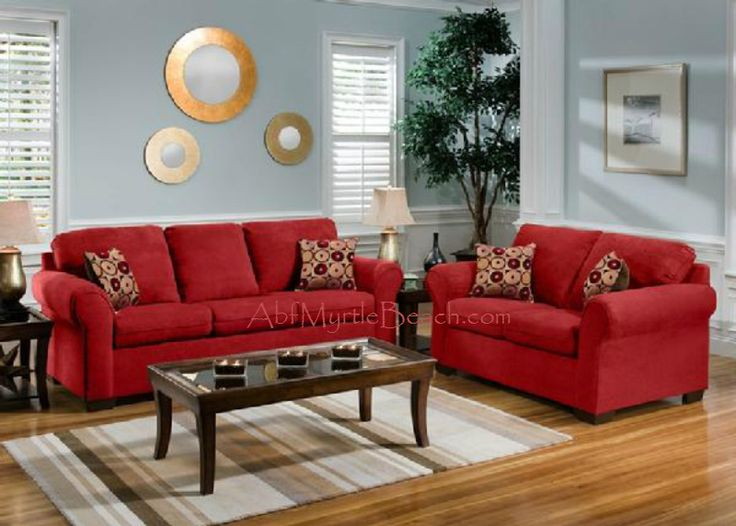 Cabot Red Sofa Love Seat Casual Living Room Furniture Set Design Ideas With Wooden Floors Amazing Decorate